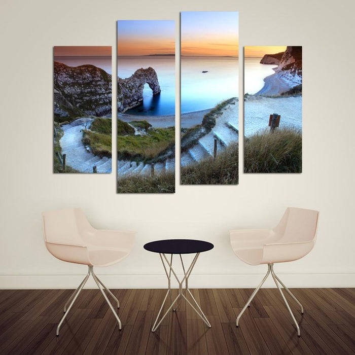 CWA5 - The Path to Durdle Door 4 Panel Canvas Wall Art - Art Fever - Art Fever