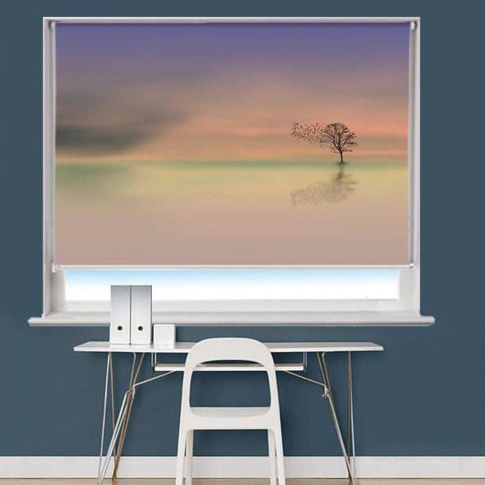 Dawn Tree Dusk Birds Printed Picture Photo Roller Blind - RB787 - Art Fever - Art Fever
