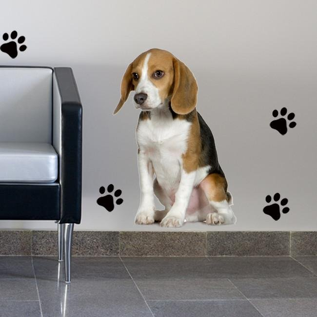 DCS3 - life size Beagle dog removable wall decal - Art Fever - Art Fever