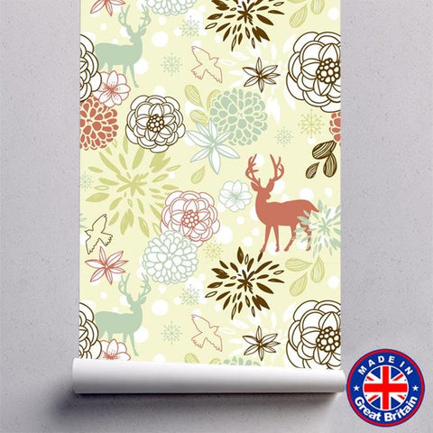 Deer print Animal Floral Themed Self Adhesive Wallpaper - WM624 - Art Fever - Art Fever
