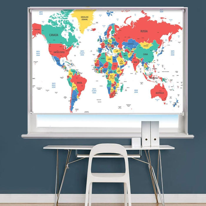 Detailed World Map Printed Picture Photo Roller Blind - RB785 - Art Fever - Art Fever