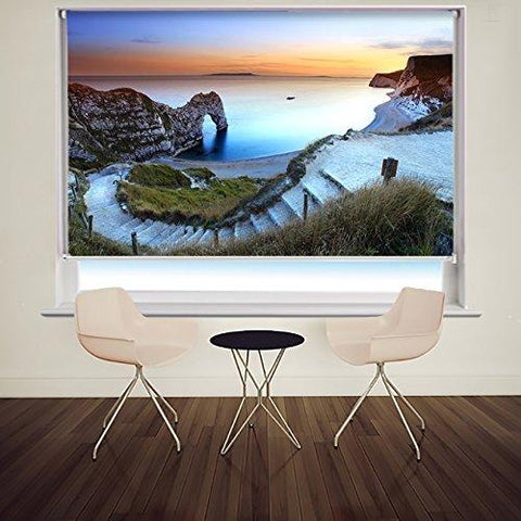 DURDLE DOOR IN DORSET AT SUNSET PRINTED PICTURE PHOTO ROLLER BLIND - CLEARANCE ITEM 100cm wide x 160cm drop - Art Fever - Art Fever