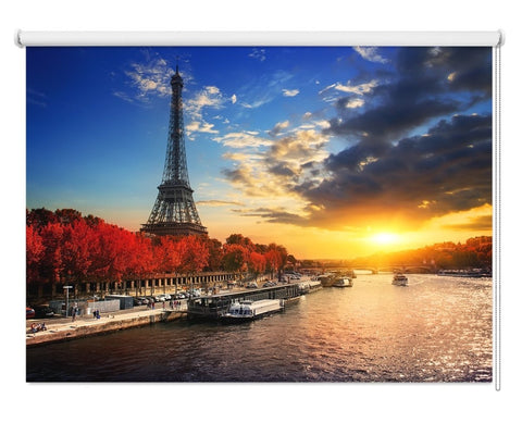 Eiffel Tower On The Bank Of Seine In Paris Printed Picture Photo Roller Blind - RB1089 - Art Fever - Art Fever