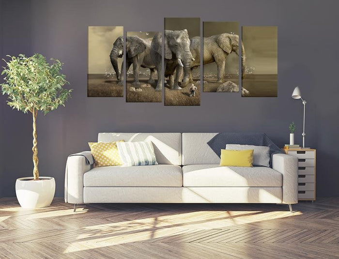 Elephants Wildlife Scene Image Multi Panel Canvas Print wall Art - MPC108 - Art Fever - Art Fever