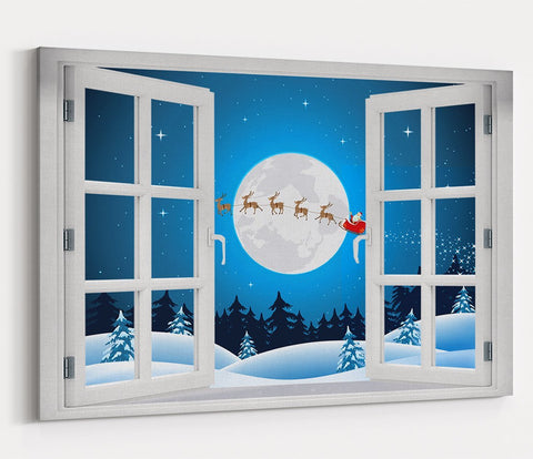 Father Christmas & Reindeer Through the Window Printed Canvas Print Picture - SPC177 - Art Fever - Art Fever