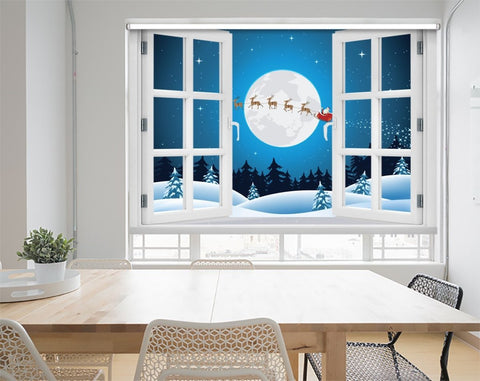 Father Christmas & Reindeer Through the Window Printed Picture Photo Roller Blind - RB1052 - Art Fever - Art Fever