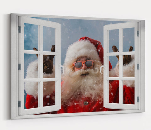 Father Christmas Through the Window Printed Canvas Print Picture - SPC175 - Art Fever - Art Fever