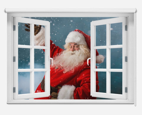 Father Christmas Through the Window Printed Picture Photo Roller Blind - RB1045 - Art Fever - Art Fever