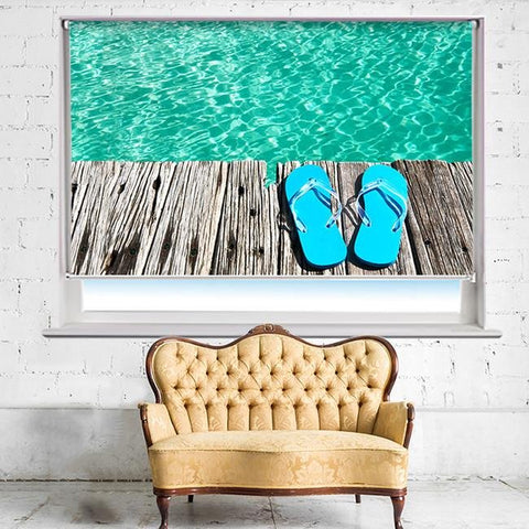 Flip Flops on the Jetty tropical sea Printed Photo Picture Roller Blind - RB500 - Art Fever - Art Fever