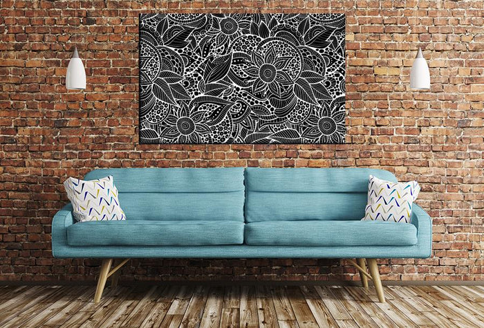 Floral Pattern Image Printed Onto A Single Panel Canvas - SPC132 - Art Fever - Art Fever