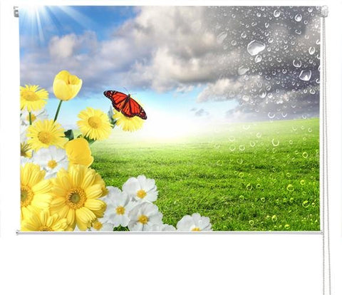 Floral scene with butterfly Printed Picture Photo Roller Blind - RB151 - Art Fever - Art Fever