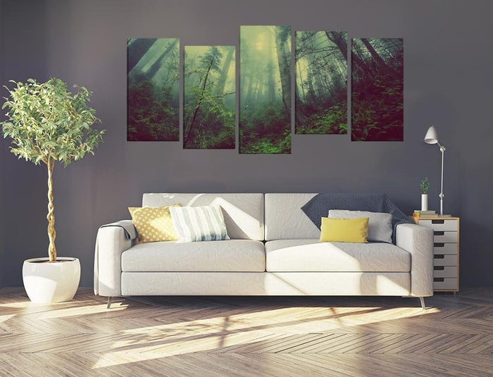 Forest Mist Nature Trees Scene Image Multi Panel Canvas Print wall Art - MPC114 - Art Fever - Art Fever