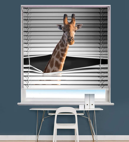 Giraffe Peeking through the blind Printed Picture Photo Roller Blind - RB713 - Art Fever - Art Fever