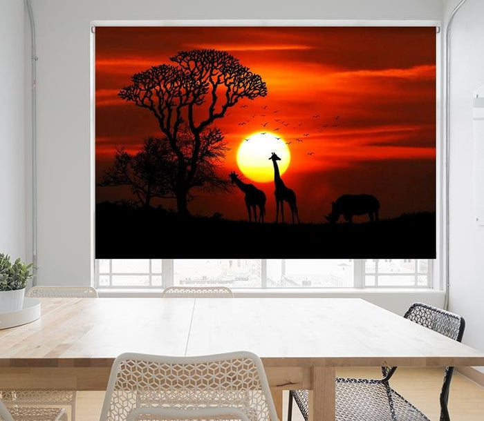 Giraffes under the African Sun Printed Picture Photo Roller Blind - RB678 - Art Fever - Art Fever