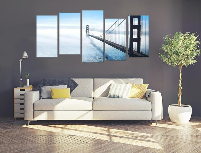 Golden Gate Bridge In San Francisco Fog Multi Panel Canvas Print wall Art - MPC23 - Art Fever - Art Fever