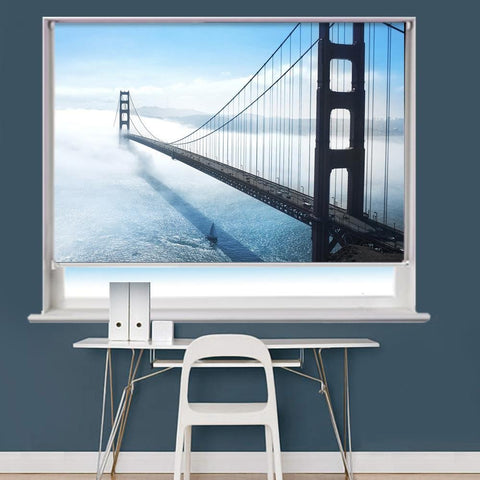 Golden Gate Bridge In San Francisco Fog Printed Picture Roller Blind - RB742 - Art Fever - Art Fever