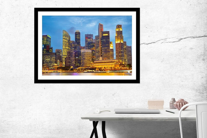Gorgeous Singapore Downtown Core At Twilight Framed Mounted Print Picture - FP13 - Art Fever - Art Fever