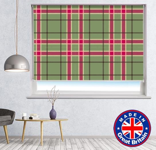 Green Red Tartan Plaid Pattern Printed Picture Photo Roller Blind - RB605 - Art Fever - Art Fever