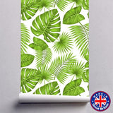 Green Tropical Leaves Floral Pattern Removable Self Adhesive Wallpaper - WM607 - Art Fever - Art Fever