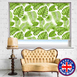 Green Tropical Leaves Floral Printed Picture Photo Roller Blind - RB526 - Art Fever - Art Fever