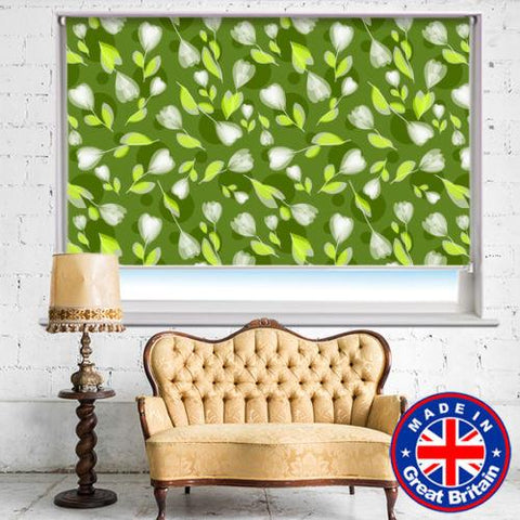 Green & White Floral Design Printed Picture Photo Roller Blind - RB527 - Art Fever - Art Fever