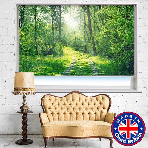Green woodland forest scene Printed Picture Photo Roller Blind - RB671 - Art Fever - Art Fever