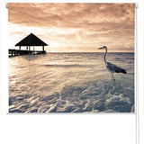 Grey Heron tropical Sea Printed Picture Photo Roller Blind - RB71 - Art Fever - Art Fever