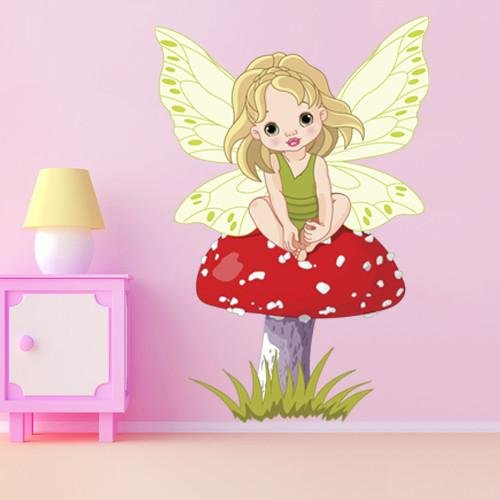 GS2 - Baby Fairy On The Mushroom, girls removable wall sticker - Art Fever - Art Fever