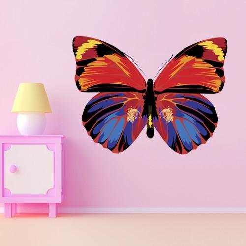GS4 - Beautiful Brightly Multi Colored Butterfly large removable wall sticker - Art Fever - Art Fever