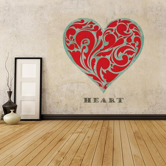 GS42 - with love wall sticker. Large heart graphic and wording - Art Fever - Art Fever