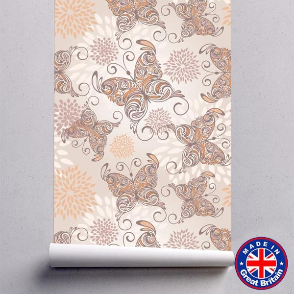 Hand Drawn Butterflies Floral Pattern Removable Self Adhesive Wallpaper - WM610 - Art Fever - Art Fever