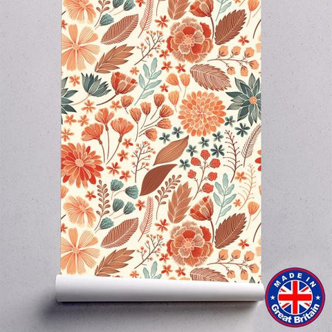 Hand Drawn Colourful Floral Pattern Removable Self Adhesive Wallpaper - WM613 - Art Fever - Art Fever