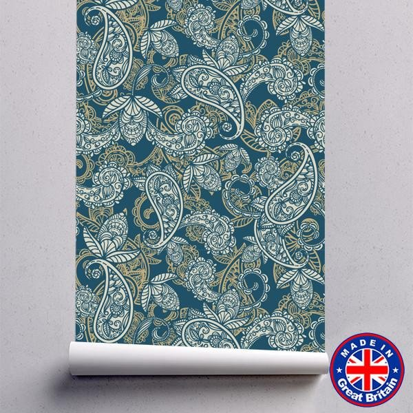Hand Drawn Colourful Floral Pattern Removable Self Adhesive Wallpaper - WM614 - Art Fever - Art Fever