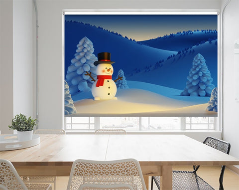 Happy Snowman, Christmas Night Scene Printed Picture Photo Roller Blind - RB1079 - Art Fever - Art Fever