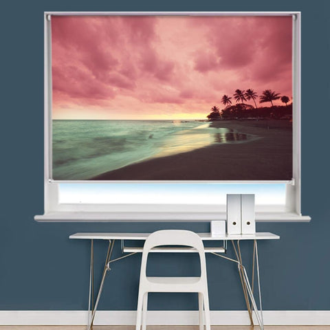Hawaiian Beach Sunset Image Printed Roller Blind - RB975 - Art Fever - Art Fever