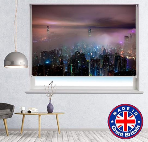 Hong Kong Skyline at Night Photo Printed Picture Roller Blind - RB581 - Art Fever - Art Fever