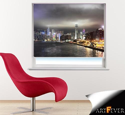 Hong Kong Skyline at Night Printed Picture Photo Roller Blind - RB41 - Art Fever - Art Fever