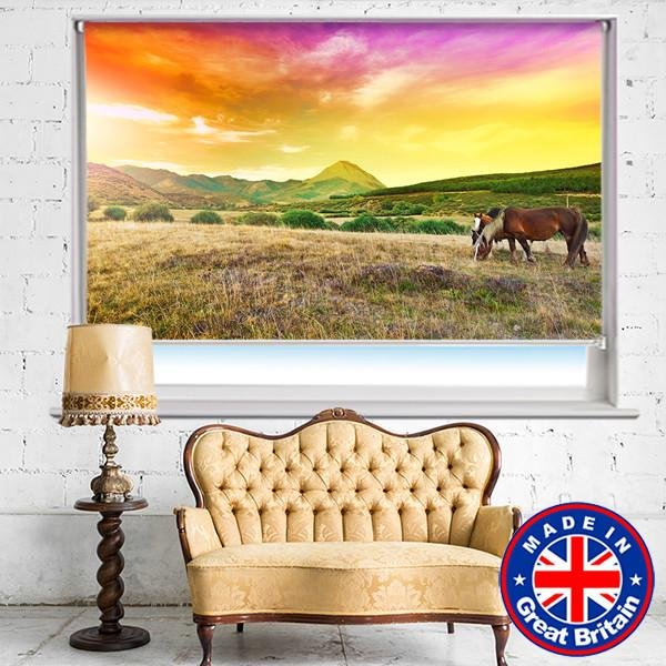 Horses Grazing on a Meadow Photo Picture Roller Blind - Art Fever - Art Fever