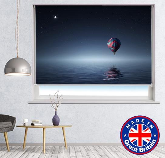 Hot Air Balloon at Night over the Lake Printed Picture Photo Roller Blind - RB617 - Art Fever - Art Fever