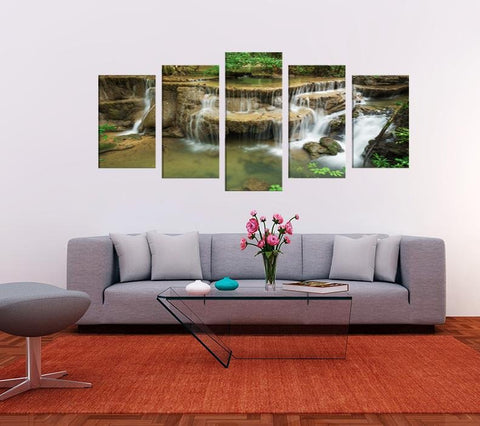 Huay Mae Kamin Waterfall Thailand Image Multi Panel Canvas Print wall Art - MPC194 - Art Fever - Art Fever