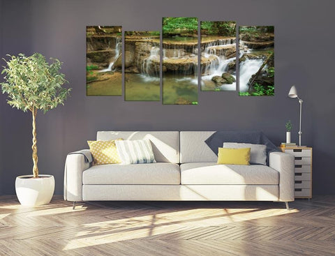 Huay Mae Kamin Waterfall Thailand Image Multi Panel Canvas Print wall Art - MPC195 - Art Fever - Art Fever