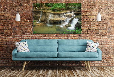 Huay Mae Kamin Waterfall Thailand Image Printed Onto A Single Panel Canvas - SPC145 - Art Fever - Art Fever