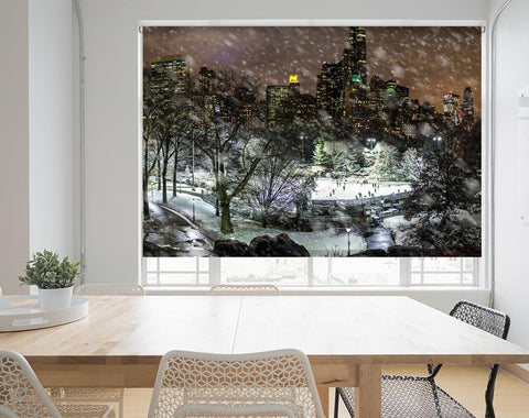 Ice Skating New York Central Park Printed Picture Photo Roller Blind - RB689 - Art Fever - Art Fever