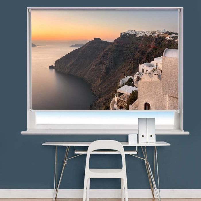 Imperavigli Village In The Evening, Santorini, Greece Printed Photo Picture Roller Blind - RB724 - Art Fever - Art Fever