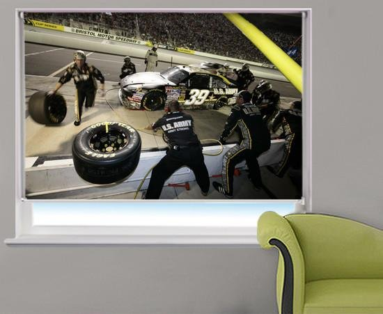 Indy Car pit stop Printed Picture Photo Roller Blind - RB308 - Art Fever - Art Fever