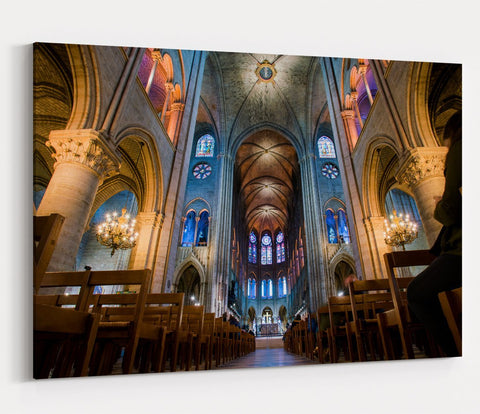 Interior Of The Notre Dame . PARIS Printed Canvas Print Picture - SPC161 - Art Fever - Art Fever