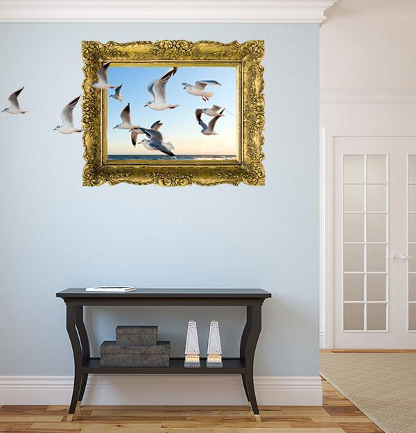 IPF10 - Flying seagulls illusion picture frame wall decal - Art Fever - Art Fever