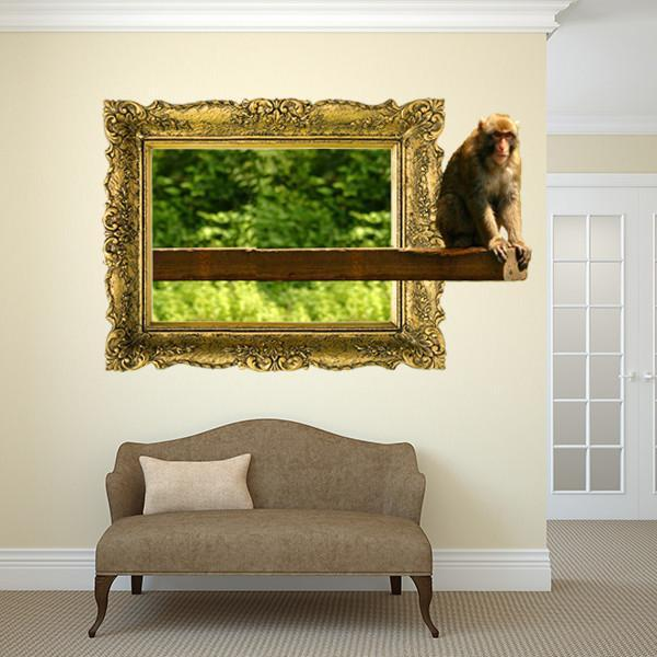 IPF12 - The chillin monkey illusion picture frame wall decal - Art Fever - Art Fever