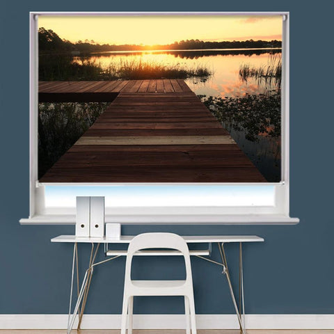 Jetty Boadwalk Sunset Pier Printed Picture Roller Blind - RB775 - Art Fever - Art Fever