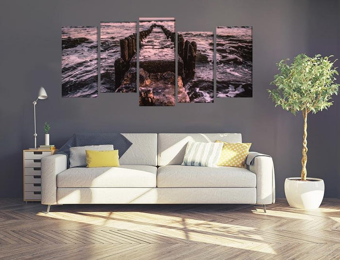 Jetty Pier Remains Multi Panel Canvas Print wall Art - MPC58 - Art Fever - Art Fever